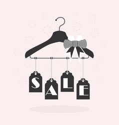 cute hanging sale tags on clothing hanger on pink vector image