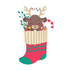 Cute reindeer and goodies in christmas stocking vector