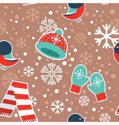 cute winter seamless pattern with warm clothes vector image