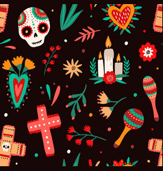 day dead traditional mexican holiday seamless vector image
