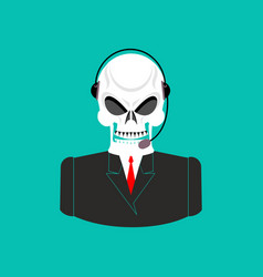 Death call center skull with headset skeleton vector