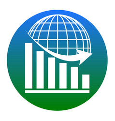 declining graph with earth white icon in vector image vector image