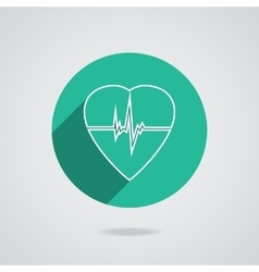 Defibrillator heart icon isolated on green vector
