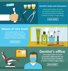 dentist tool banner horizontal set flat style vector image