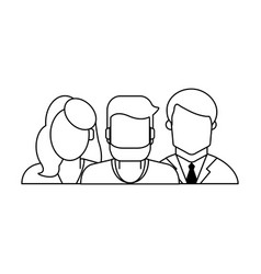 Family avatar profile in black and white vector