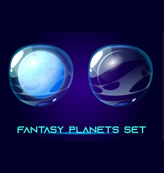 fantasy space planets set for ui galaxy game vector image
