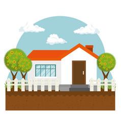 Farm cute house icon vector