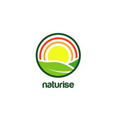farm nature sun rise logo design vector image