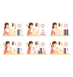 female business character working with laptop vector image
