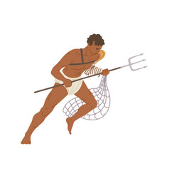 Fighting roman gladiator with trident and net flat vector