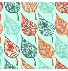Floral leaf seamless pattern doodle vector