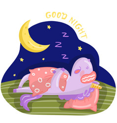 funny cartoon unicorn character sleeping on the vector image