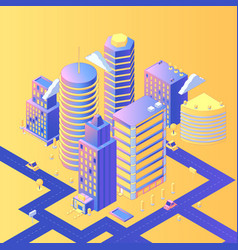 futuristic city isometric vector image