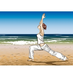 Girl Doing Yoga at the Beach vector