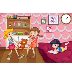 Girl fighting over a toy vector