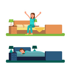 Girl in morning and night sits or lies in bed vector
