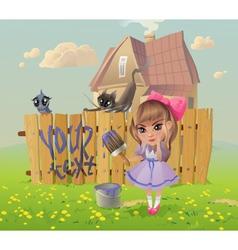 Girl writes on fence vector