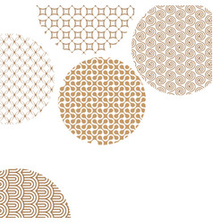 Golden circles with geometric patterns on white vector