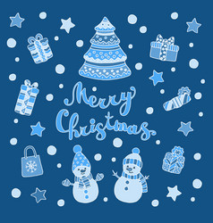 Greeting card with christmas tree snowmen and vector