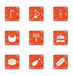 Grill shop icons set grunge style vector