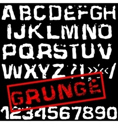 Grunge retro font Stamped type white vector