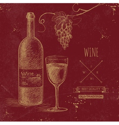 Hand drawn grunge wine background vector image