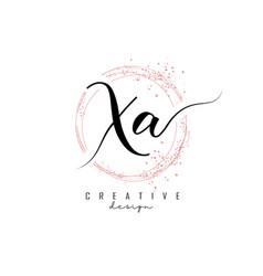 Handwritten xa x a letter logo with sparkling vector