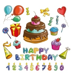 Happy birthday symbols Candles and cakes set of vector