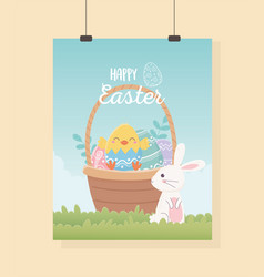 happy easter cute rabbit with basket filled eggs vector image