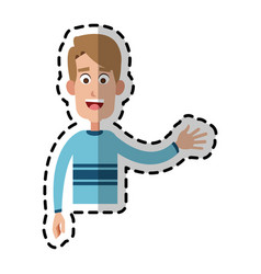 Happy handsome blonde man waving hand cartoon icon vector