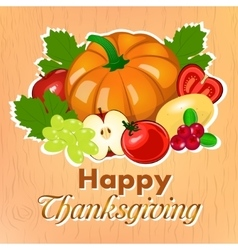 Happy Thanksgiving Harvest fruits and vegetables vector image