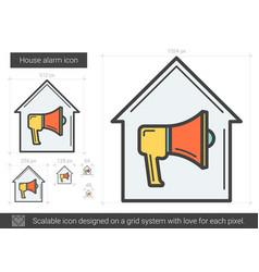 House alarm line icon vector