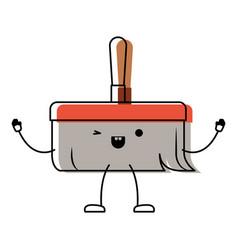 kawaii cartoon hand broom with wooden stick in vector image