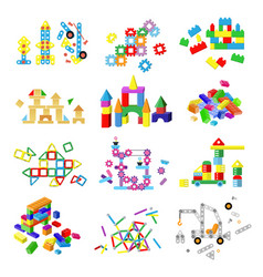 Kids building blocks baby toy colorful vector