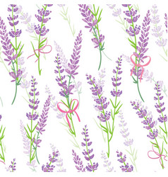 Lavender flower bouquets purple seamless pattern vector
