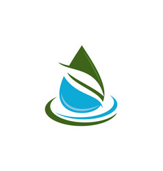 leaf water logo design template vector image