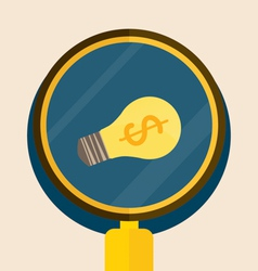 Light bulb with Magnifying glass vector image