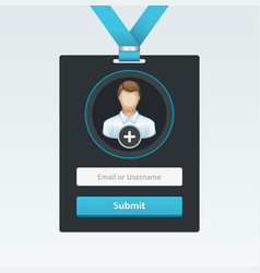 Login form in badge vector