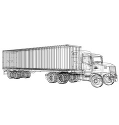 Logistic by container truck vector