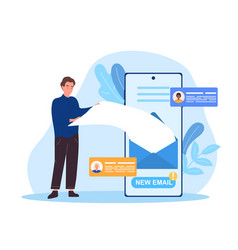 male character is getting new email on phone vector image