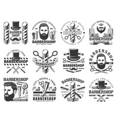 Man with beard moustache and barbershop tools vector