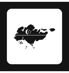 Map of Singapore icon simple style vector image