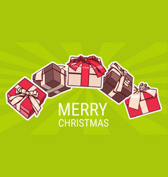 merry christmas poster with different gift boxes vector image