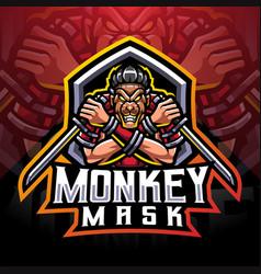 Monkey mask ninja esport mascot logo vector