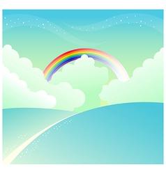 Mountain slope rainbow sky vector