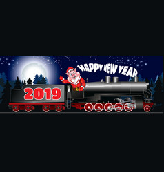 new year greeting card with a picture of a pig vector image