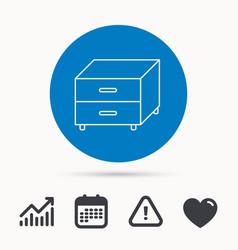 Nightstand icon bedroom furniture sign vector