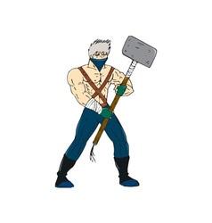 Ninja masked warrior sledgehammer cartoon vector