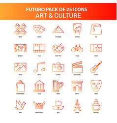 Orange futuro 25 art and culture icon set vector