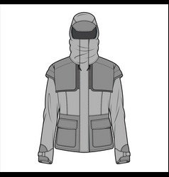 Outer jacket fashion flat sketch template5 vector